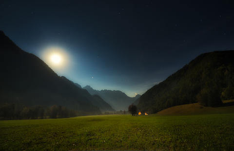 Alpine valley at night, Logarska valley, Slovenia Photo