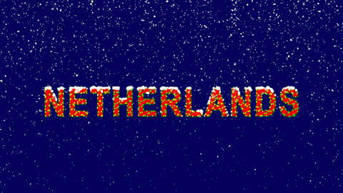 New Year text country name NETHERLANDS. Snow falls. Christmas mood, looped Animation
