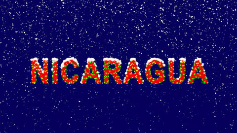 New Year text country name NICARAGUA. Snow falls. Christmas mood, looped video. Animation