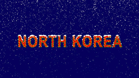 New Year text country name NORTH KOREA. Snow falls. Christmas mood, looped Animation