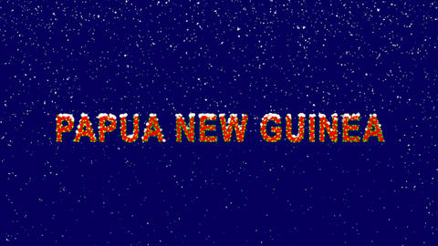 New Year text country name PAPUA NEW GUINEA. Snow falls. Christmas mood, looped Animation