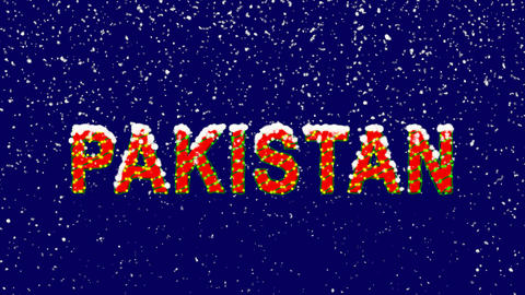 New Year text country name PAKISTAN. Snow falls. Christmas mood, looped video. Animation