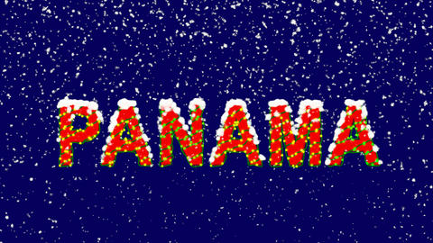 New Year text country name PANAMA. Snow falls. Christmas mood, looped video. Animation