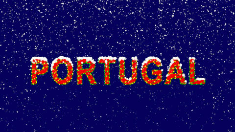 New Year text country name PORTUGAL. Snow falls. Christmas mood, looped video. Animation
