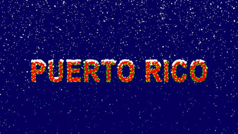 New Year text country name PUERTO RICO. Snow falls. Christmas mood, looped Animation