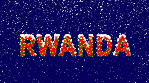 New Year text country name RWANDA. Snow falls. Christmas mood, looped video. Animation