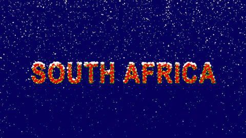 New Year text country name SOUTH AFRICA. Snow falls. Christmas mood, looped Animation