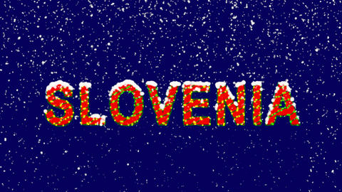 New Year text country name SLOVENIA. Snow falls. Christmas mood, looped video. Animation