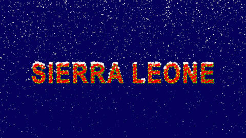 New Year text country name SIERRA LEONE. Snow falls. Christmas mood, looped Animation