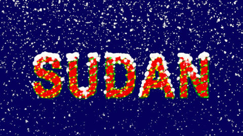 New Year text country name SUDAN. Snow falls. Christmas mood, looped video. Animation