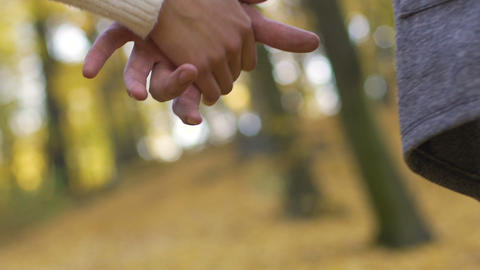 Close-up of young couple clasping hands in slow motion, romantic relationship Footage