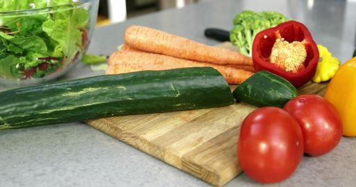 Family preparing vegetables Live Action