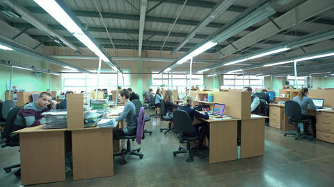 Open Business Office With Busy Staff Members. 4k video... Stock Video Footage