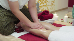 Massage Specialist Doing Massage of Womans Feet Footage