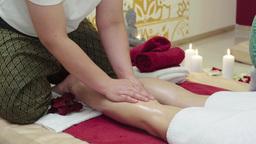 Massage Specialist Doing Massage of Womans Feet Footage