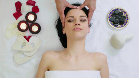 Woman Getting Facial Massage in Tropical Spa Footage