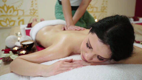 Sophisticated Lady Having Massage Treatment Footage