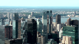 New York City 707 towers of Hearst Corporation & Time Warner from above Footage