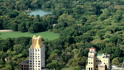 New York City 715 lake and meadow in Central Park seen from above Footage