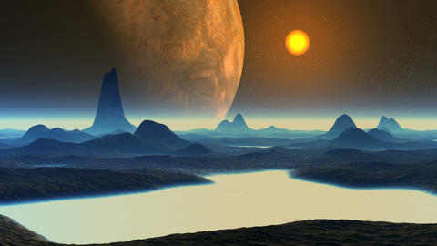 Huge Alien Planet and Sunset Animation