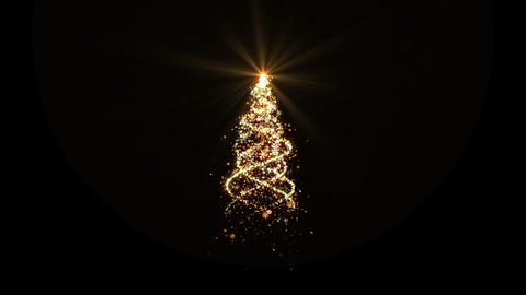 Christmas gold lights tree with alpha looped for... Stock Video Footage