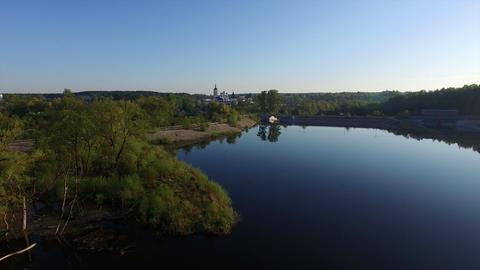 Lake near the village at dawn Footage