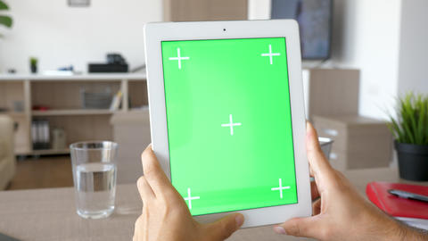 Digital tablet PC with green screen chroma mock up Live Action