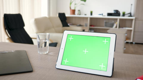 Digital tablet PC with chroma green screen mock up Footage