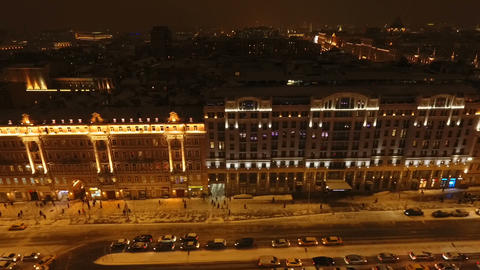 Night aerial view of Tverskaya Street in winter ビデオ