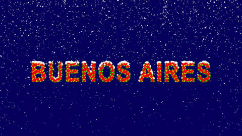 New Year text capital name BUENOS AIRES. Snow falls. Christmas mood, looped Animation