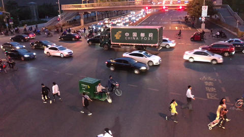 Beijing China Rush Hour Footage