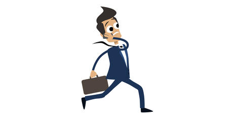 Businessman Cartoon Animation Template 5 - Running With Briefcase And Phone CG動画素材