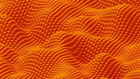 Waving surface with orange cubes animation background GIF