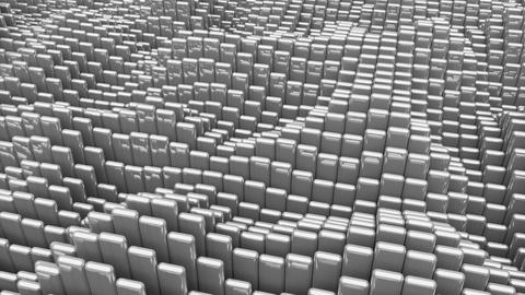 Waving surface with glossy rounded gray cubes animation background Animation