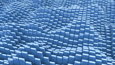 Waving surface with glossy rounded blue cubes animation background GIF