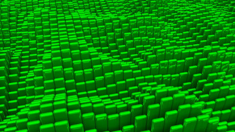 Waving surface with glossy rounded green cubes animation background Animation