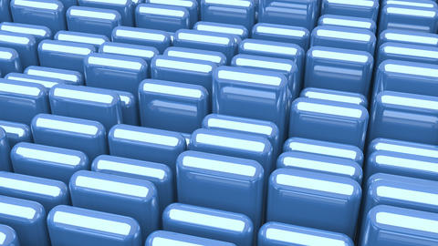 Waving surface with glossy rounded blue cubes close up animation background Animation