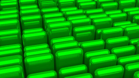 Waving surface with glossy rounded green cubes close up animation background Animation