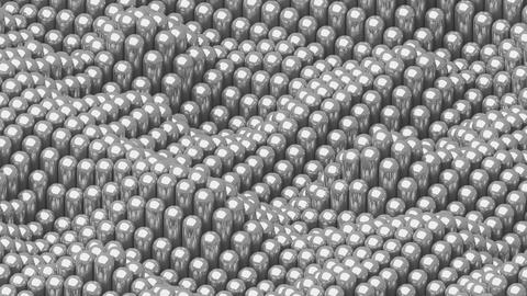 Waving surface with glossy rounded silver cylinders animation background GIF