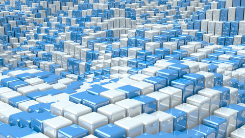 Waving surface with glossy white and blue cubes animation background GIF