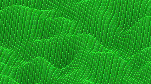Waving surface with rounded green cylinders animation background Animation