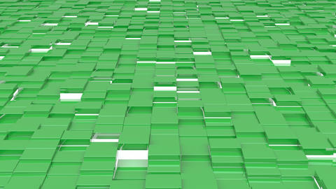 Waving surface with green cubes with lights close up animation background GIF