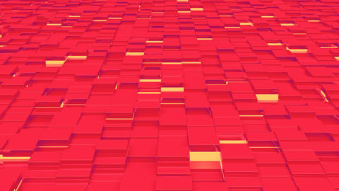 Waving surface with red cubes with lights close up animation background Animation
