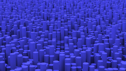 Surface with blue cylinders close up animation background Animation