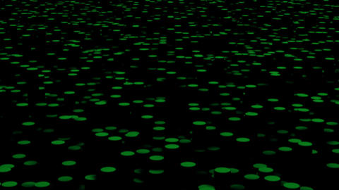 Green circles move on the surface in the dark close up animation background CG動画