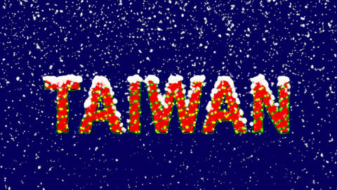 New Year text country name TAIWAN. Snow falls. Christmas mood, looped video. Animation