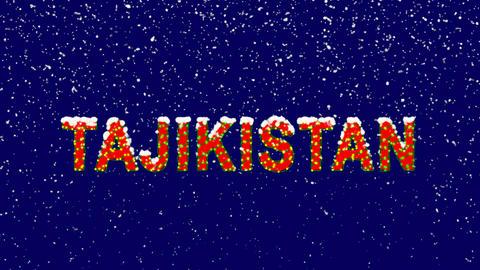 New Year text country name TAJIKISTAN. Snow falls. Christmas mood, looped video. Animation