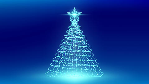 Christmas Tree with Star wireframe polygon bokeh light frame structure and lens Animation