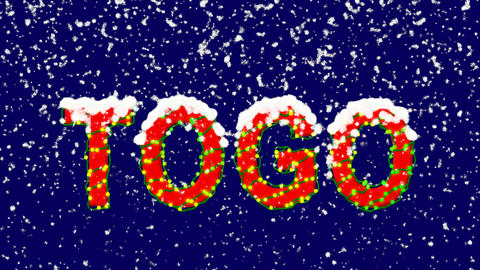New Year text country name TOGO. Snow falls. Christmas mood, looped video. Alpha Animation