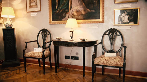 Beautiful Old Table and two Chairs with a Lamp from 19 century Live Action